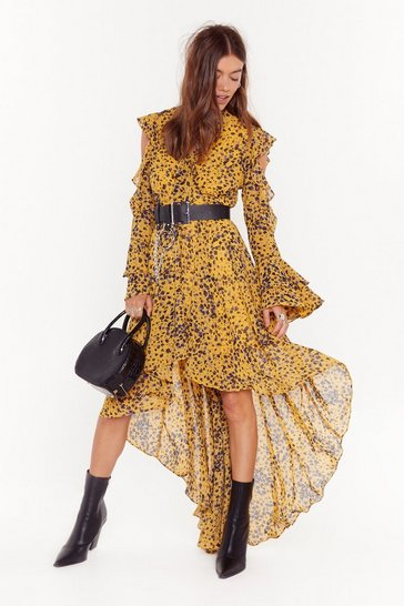 Gold The Night is Frill Young Floral Maxi Dress