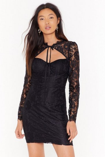 Womens Black lace cupped mini dress