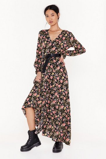 Womens Black Floral We Know Relaxed Maxi Dress