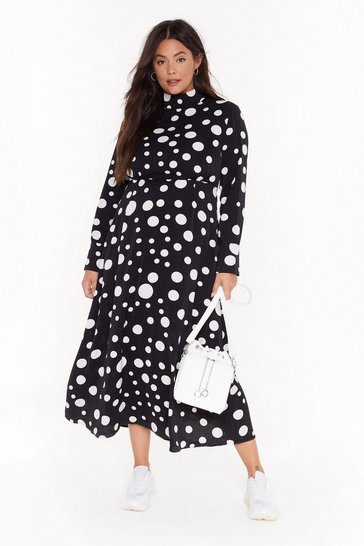 Womens Black Dot With Me Plus Midi Dress