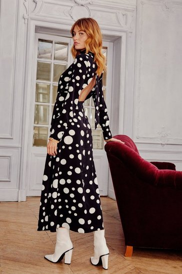 Black Dot With Me High Neck Midi Dress