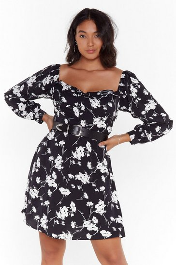 Womens Black Growing On Me Plus Floral Dress