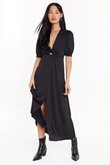 Womens Black Cut-Out of Bounds Button-Down Midi Dress
