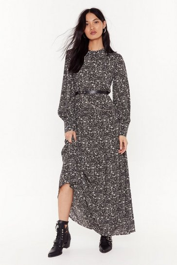 Black Here Grows Nothin' Floral Maxi Dress