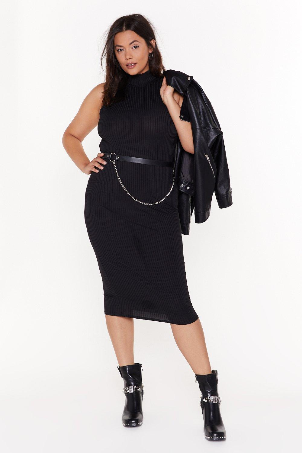 All Day And Tight Plus Ribbed Dress by Nasty Gal