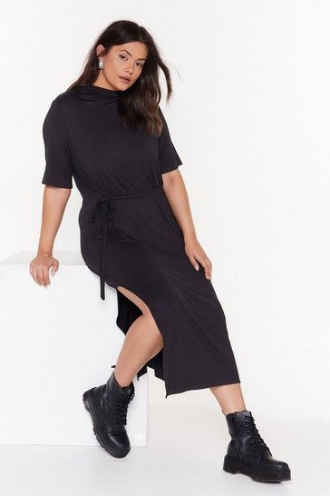 Womens Black Tee BT Plus Belted Midi Dress