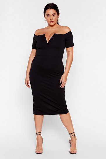 Black Let 'Em V You Plus Midi Dress
