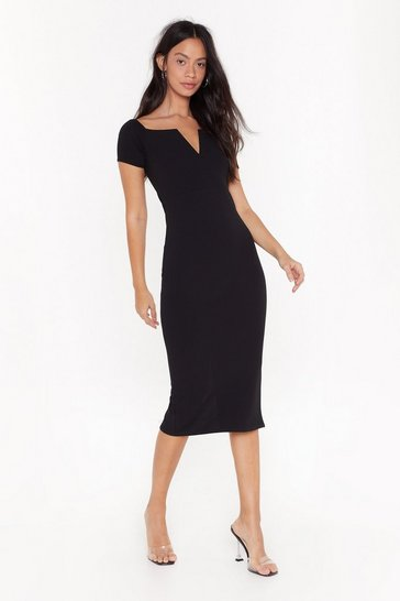 Womens Black If You Could See V Now Midi Dress