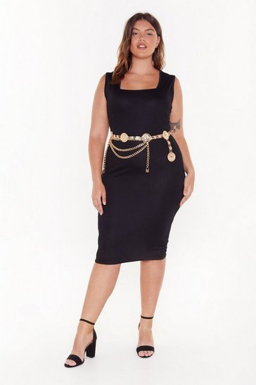 Womens Black Fit Right in Plus Midi Dress