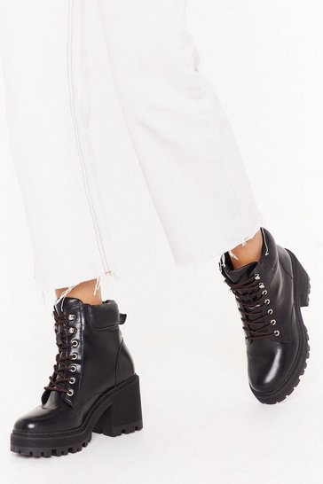 Black Cracks Are Showing Lace-Up Heeled Boots