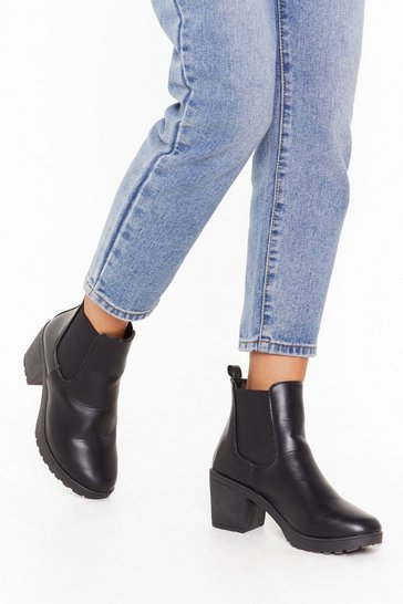 Black Midi heel cleated chelsea boots