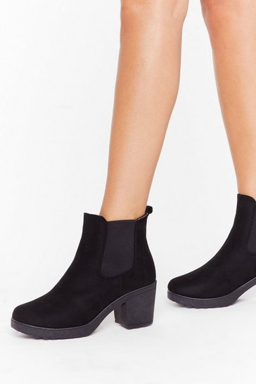 Womens Black Suede You Want Me Faux Suede Chelsea Boots