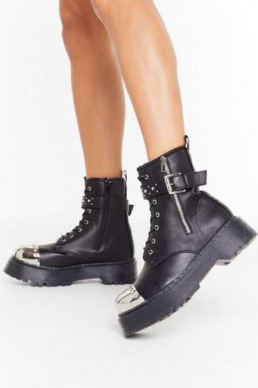 Womens Black PU metal cap biker boots