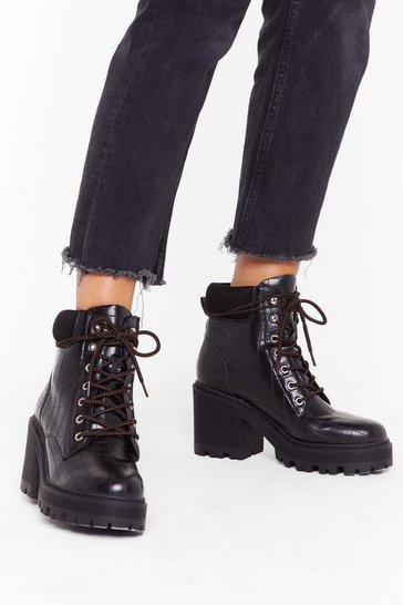 Womens Black PU bloack heel hiker boot