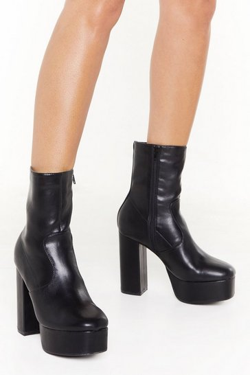 Womens Black A Walk to Remember Faux Leather Platform Boots