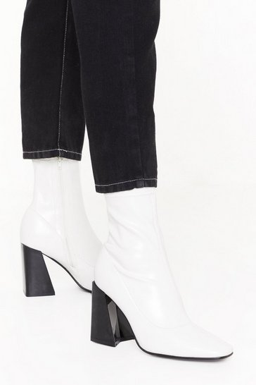 Womens White Truth or Flare Heel Sock Boots