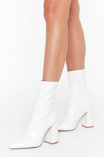 White Pointed Block Heel Faux Leather Sock Boots