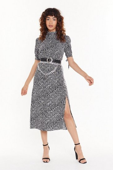 Womens Black Feelin' Dot Satin Midi Skirt