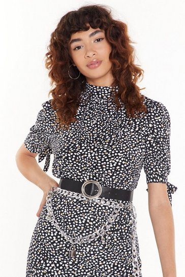 Womens Black Feelin' Dot High Neck Blouse