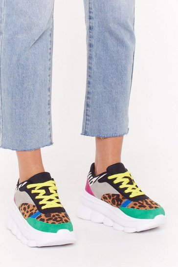Womens White Just a Dash of Colorblock Chunky Sneakers
