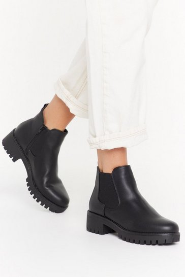 Black We Stand Unde-cleated Faux Leather Chelsea Boots