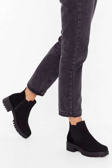 Womens Black Kicking and Screaming Faux Suede Chelsea Boots