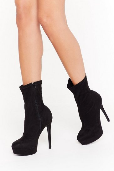 Black Raise the Bar Faux Suede Stiletto Boots