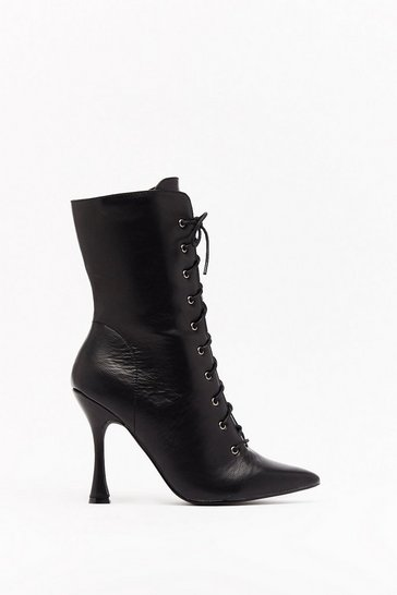 Womens Black My Point of View Faux Leather Lace-Up Boots