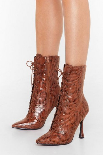 Womens Brown Python Our Wavelength Lace-Up Heeled Boots