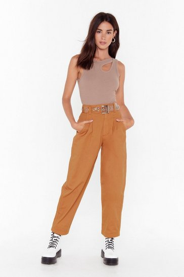 Womens Tan Get High-Waisted Denim Jeans