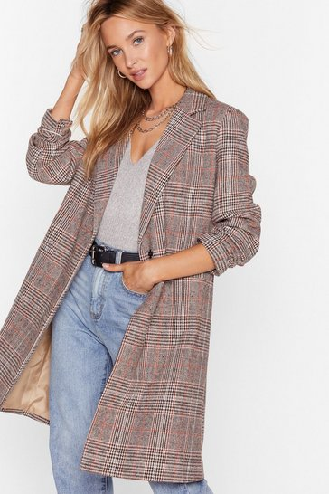 Womens Brown A Longline Those Lines Check Jacket