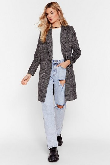 Womens Grey A Longline Those Lines Check Jacket