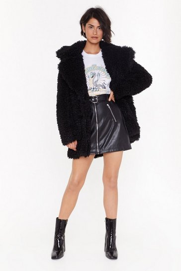 Womens Black Fur Your Information Faux Fur Longline Coat