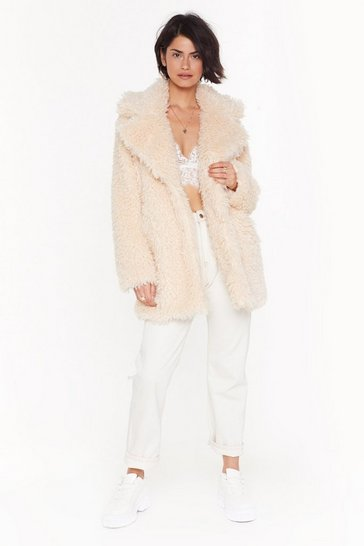 Womens Cream Fur Your Information Faux Fur Longline Coat