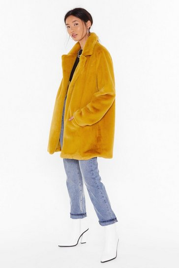 Womens Mustard Surfin' Bird Faux Fur Coat