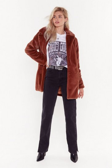 Womens Rust Faux Fur Coat
