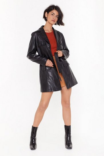 Womens Black You're Faux Leather Fully Dressed Belted Jacket