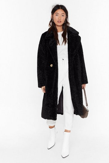 Womens Black Coat This Down Faux Fur Coat