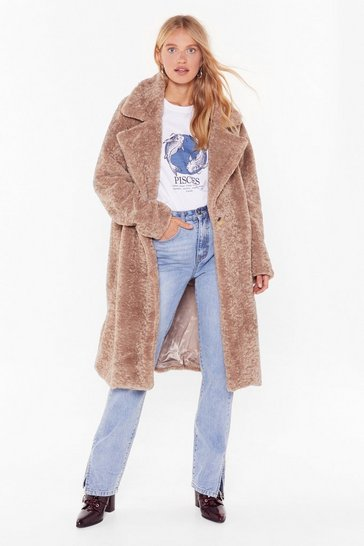 Womens Camel Coat This Down Faux Fur Coat
