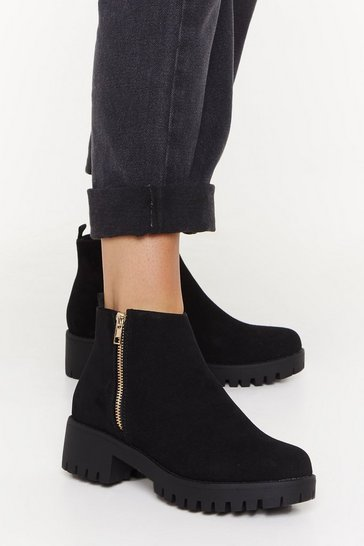 Black Don't Forget Zip Faux Suede Boots
