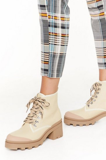 Womens Beige Immi hiker lace up boot