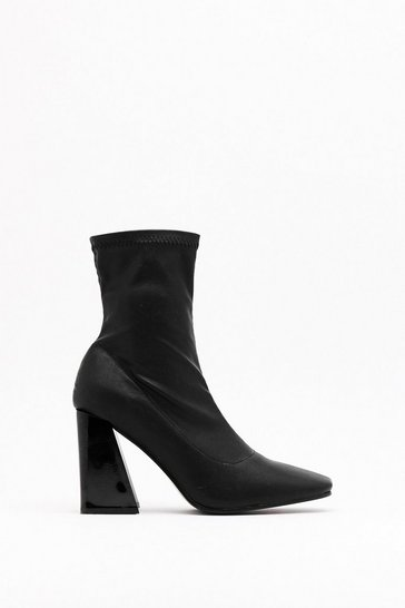 Black Flare is No Alternative Faux Leather Block Heel Boots