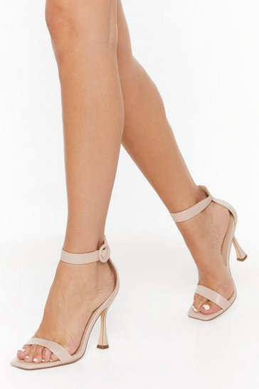 Womens Nude Standing on Higher Ground Faux Leather Stilletto Heels