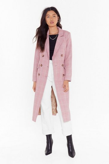 Womens Pink Not a Longline Check Double Breasted Coat