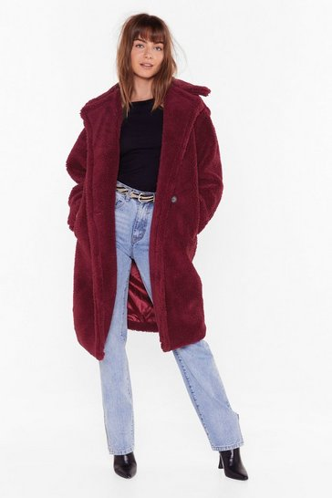 Womens Berry Warm Love Faux Fur Coat