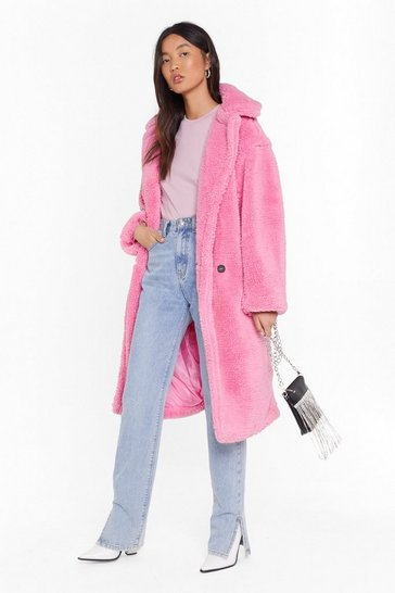 Womens Pink Oversized Teddy Fur Coat