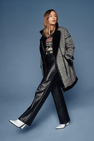 Black Check and Call Tweed Faux Fur Coat
