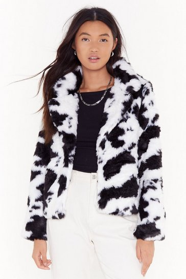 Womens Black Cow About Never Faux Fur Coat