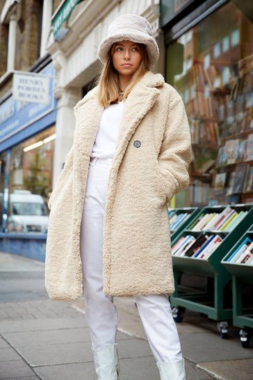 Womens Beige Ready Teddy Go Oversized Faux Fur Coat