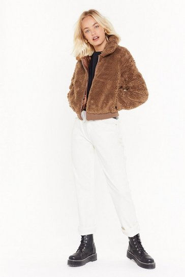 Womens Camel Too Hot to Handle Zip Faux Fur Jacket